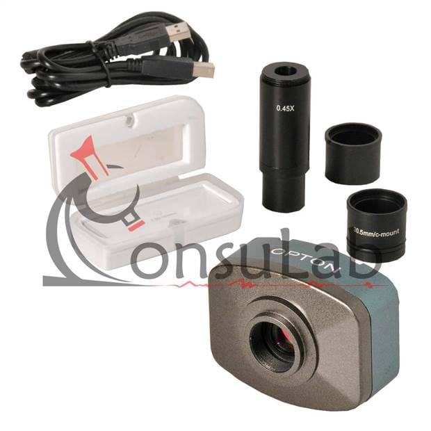 Câmera Digital Colorida 5.0 MP com Software, Lente de Redução e Lâmina Padrão