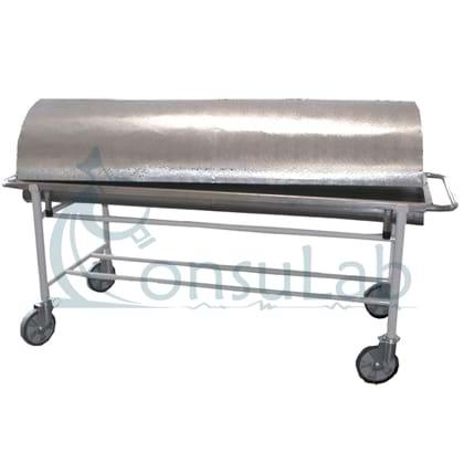 Carro para Transporte de Cadaver com Cobertura (Inox) Rebaixo e Declive para Escoamento de Líquidos
