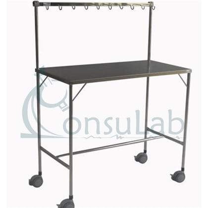 Mesa para Instrumentar com Varal- 10 Ganchos e Rodizio (INOX)