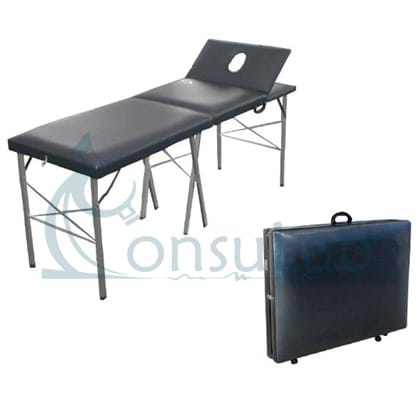 """Mesa Para Massagem """"Mala Dobrável"""" (Suporta até 90 kg) Com Cabeceira Móvel e Orifício - Rodízios e alça (Alumínio)"""