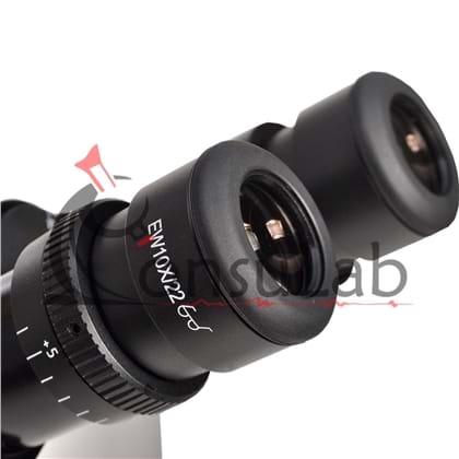 Microscópio Biológico Trinocular Invertido com Aumento de 40x até 400x ou 40x até 600x (opcional), Objetiva Planacromática Infinita, Iluminação 30W Halogênio e Contraste de Fase
