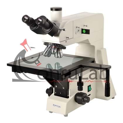 Microscópio Metalográfico Trinocular com Aumento de 50x Até 800x, Objetivas Planacromática e Iluminação 20W