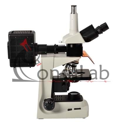 Microscópio Trinocular com Fluorescência Aumento de 40x até 1600x Objetiva Planacromática e Iluminação Epscópica 100W HBO/Diascópica 20W Halogênio