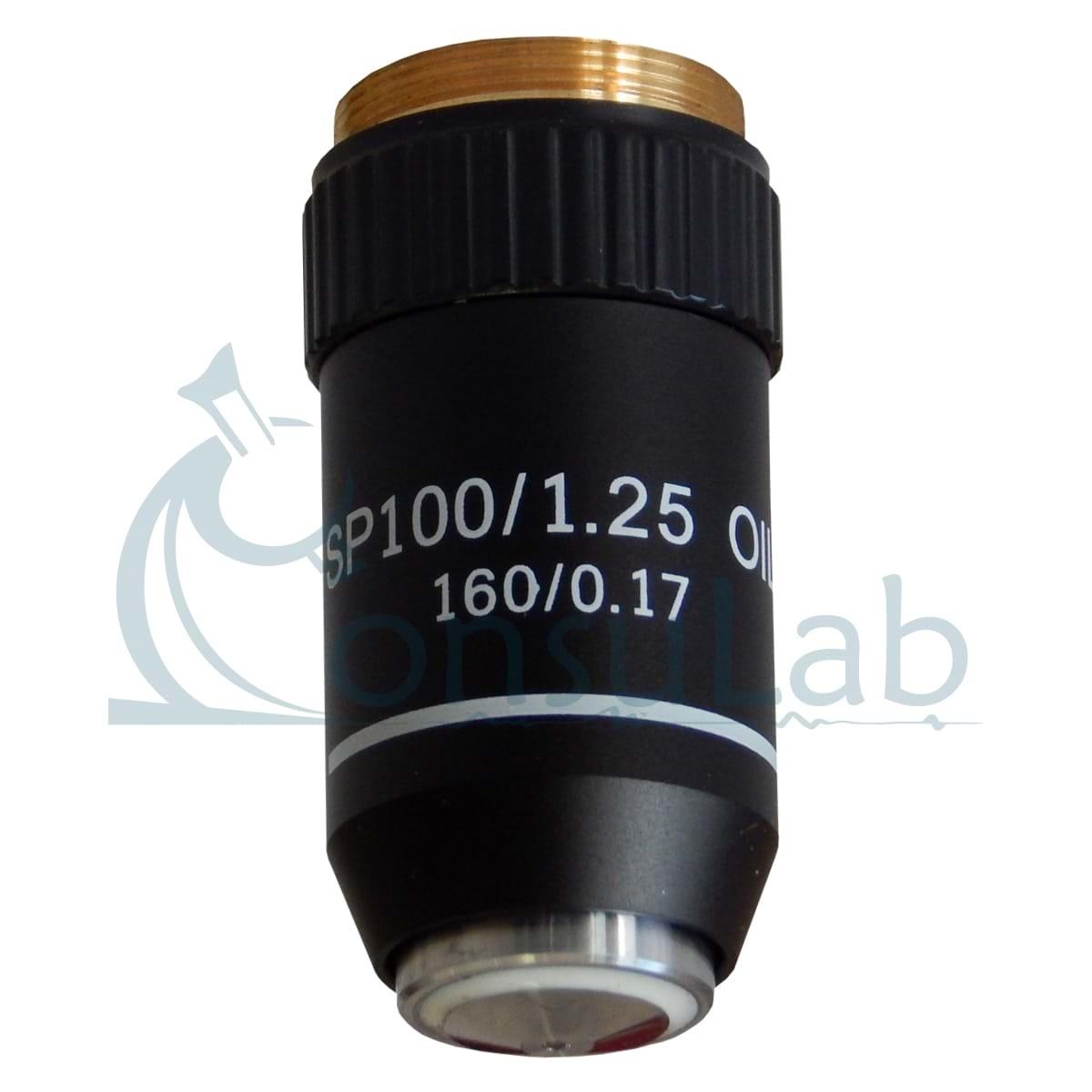 Objetiva 100X (retrátil, óleo) Acromática Finita