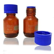 Frasco Reagente Âmbar 50ml Graduado Com Tampa Rosca e Dispositivo Anti Gota