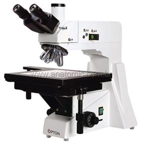 Microscópio Metalográfico Trinocular com Aumento de 50x Até 800x, Objetivas Planacromática e Ilumina